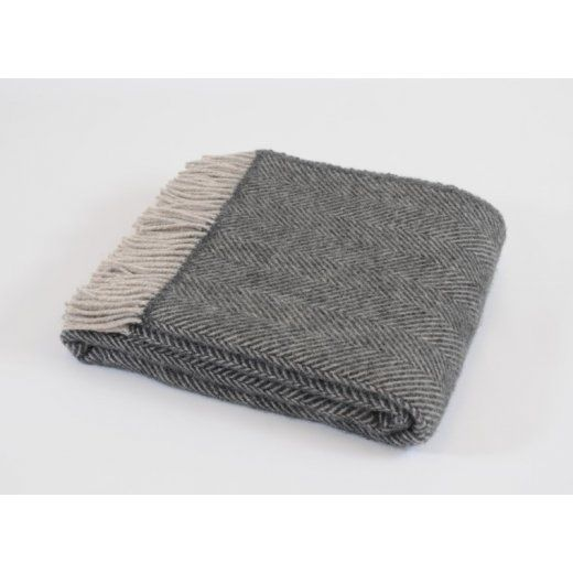 Tweedmill Pure New Wool Herringbone Throw Blanket Charcoal & Silver - Tweedmill from Hurn & Hurn UK
