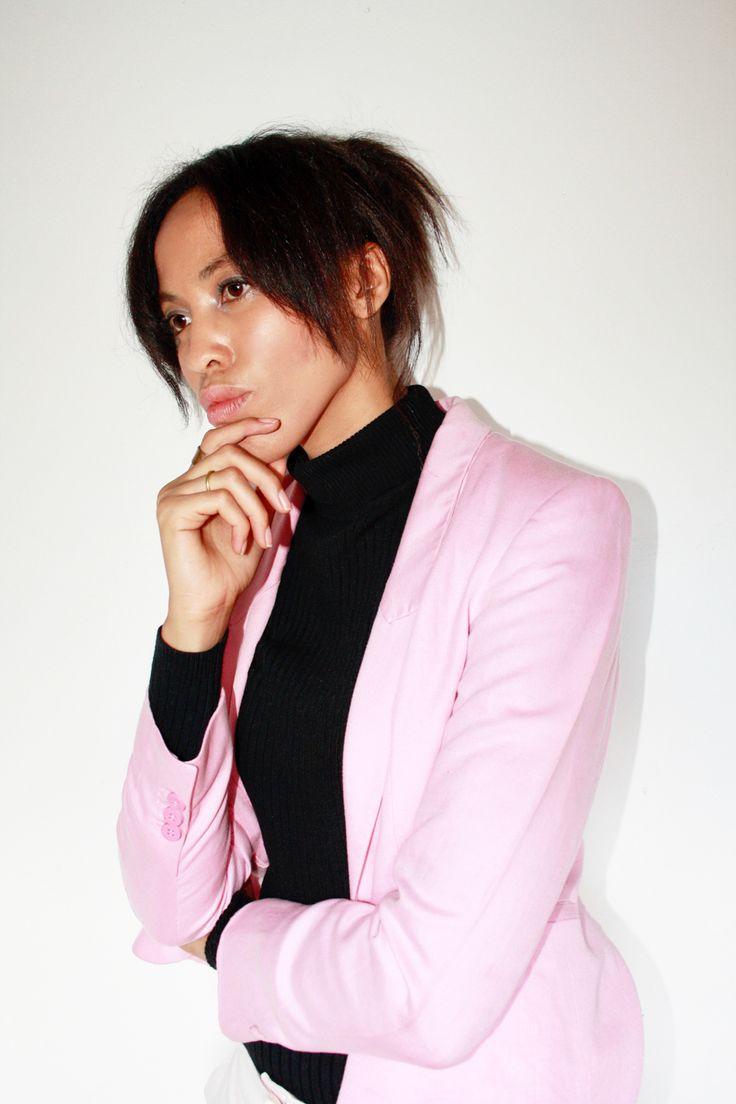 Millennial Pink Blazer + Turtleneck Casual Outfit