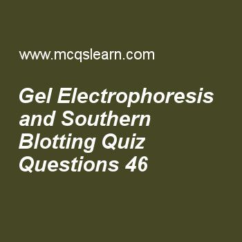 Practice gel electrophoresis and southern blotting quizzes, MCAT quiz 46 to learn. Free gel electrophoresis and southern blotting MCQs with answers. Practice MCQs to test knowledge on, gel electrophoresis and southern blotting, biogenetics and thermodynamics, atp synthase and chemiosmotic coupling, operon concept and jacob monod model, rna processing in eukaryotes, introns and exons worksheets.  Free gel electrophoresis and southern blotting worksheet has multiple choice quiz questions as...