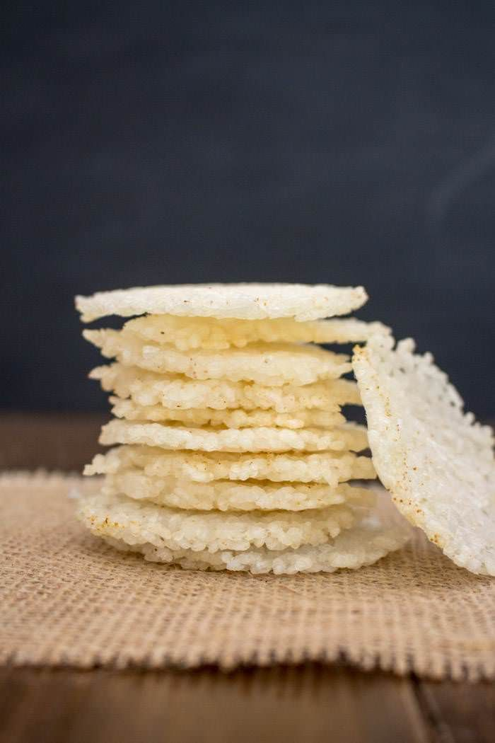 Garlic Rice Crackers from Leftover Sushi Rice
