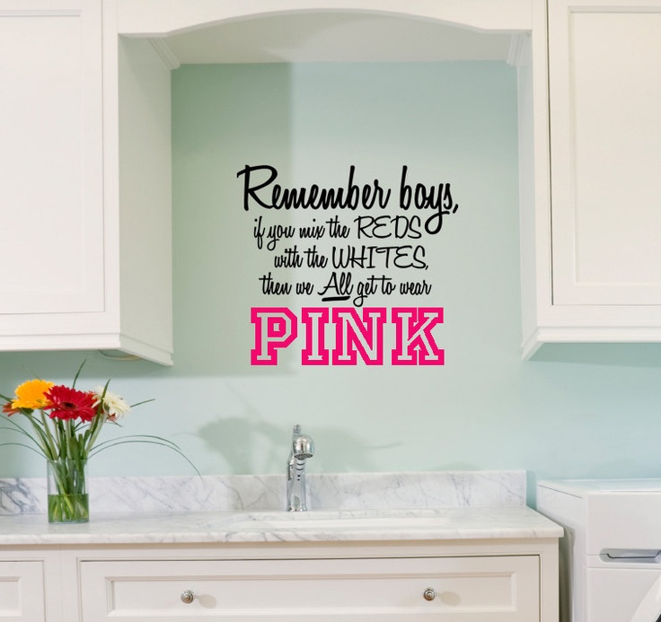 Love this!! Laundry Room - Ladies warning to the boys not to mix reds and whites. Removable, paint-like appearance, vinyl wall decal.. $22.00, via Etsy.