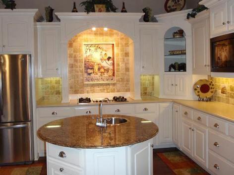 Tuscan Kitchen Design, 29 Cool Designs - Kitchen A - Like round island - no sink & on wheels