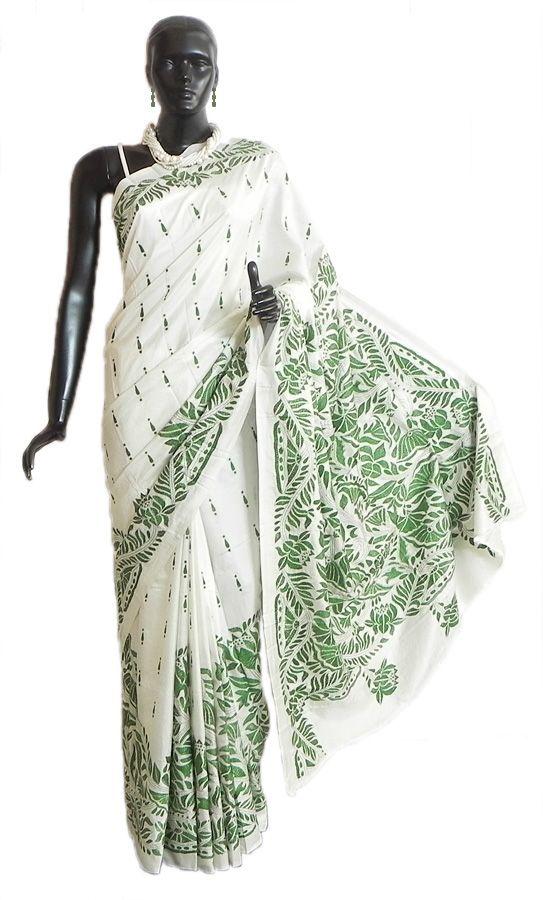 Kantha Stitch on White Pure Silk Saree with Gorgeous Border and Pallu (Pure Silk))