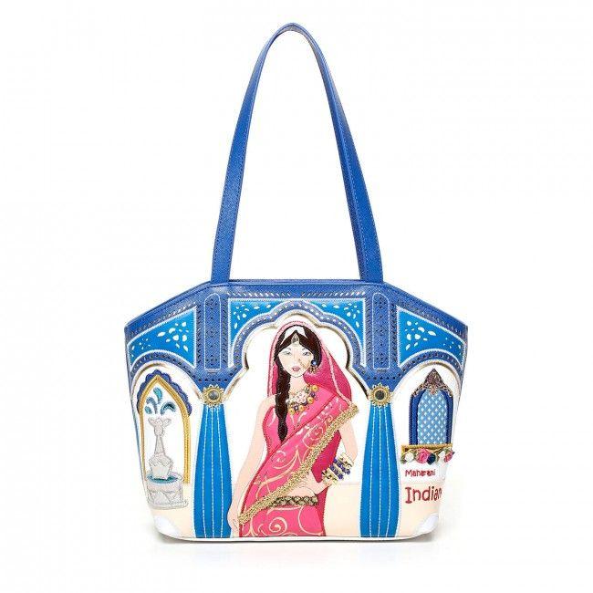Borsa Braccialini Cartoline India #handbags #bags #borse #cartoline