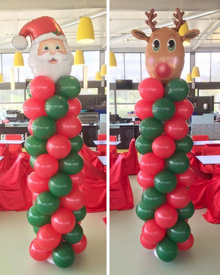 Standard Red and Green Columns with Santa and Rudolph SuperShapes