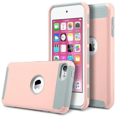 ULAK iPod Touch 5 case,iPod Touch 6 Case, [Colorful Series] 2-Piece Style Hybrid Shockproof Hard Case Cover for Apple iPod touch 5 6th Generation (Pink+Grey)