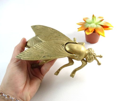 Brass Fly Ashtray   Brass Fly  Brass Animal by VintageLittleGems