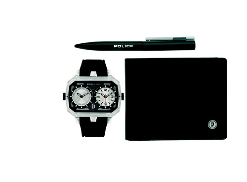 Police watch, wallet and pen set