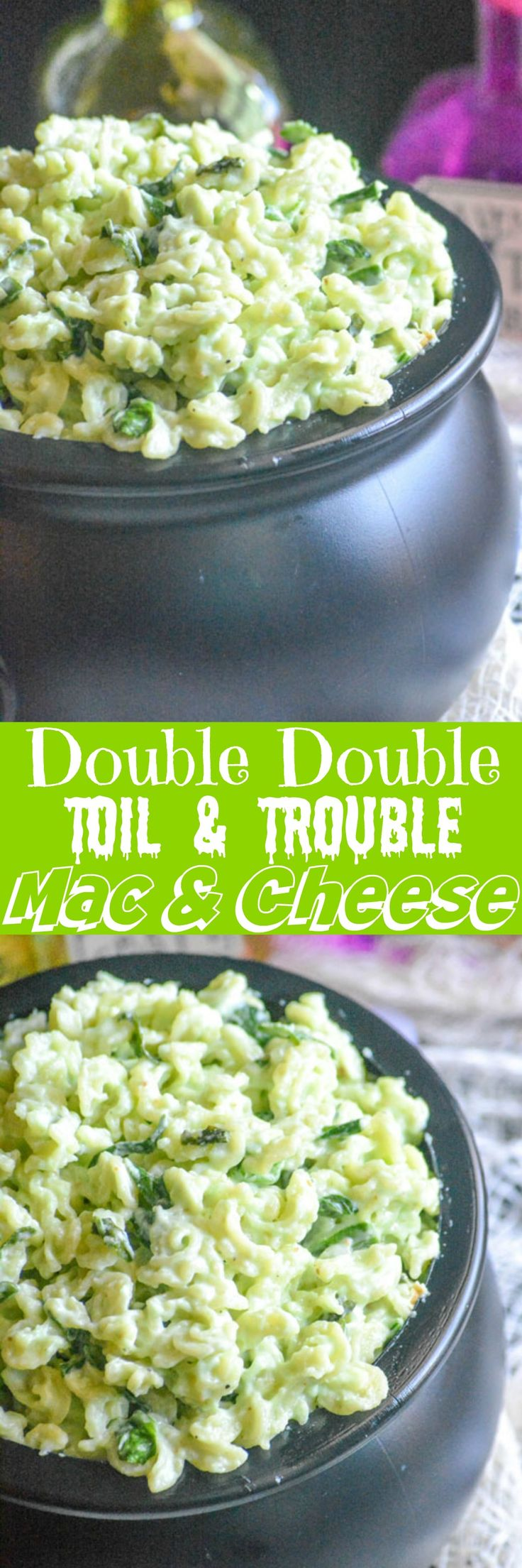 A quick & easy, oh so creamy white cheddar mac & cheese has been given a spooky spin. Double Double Toil & Trouble Macaroni & Cheese is a filling dinner, and the pasta dish that's perfect for getting the family into the spirit of Halloween.