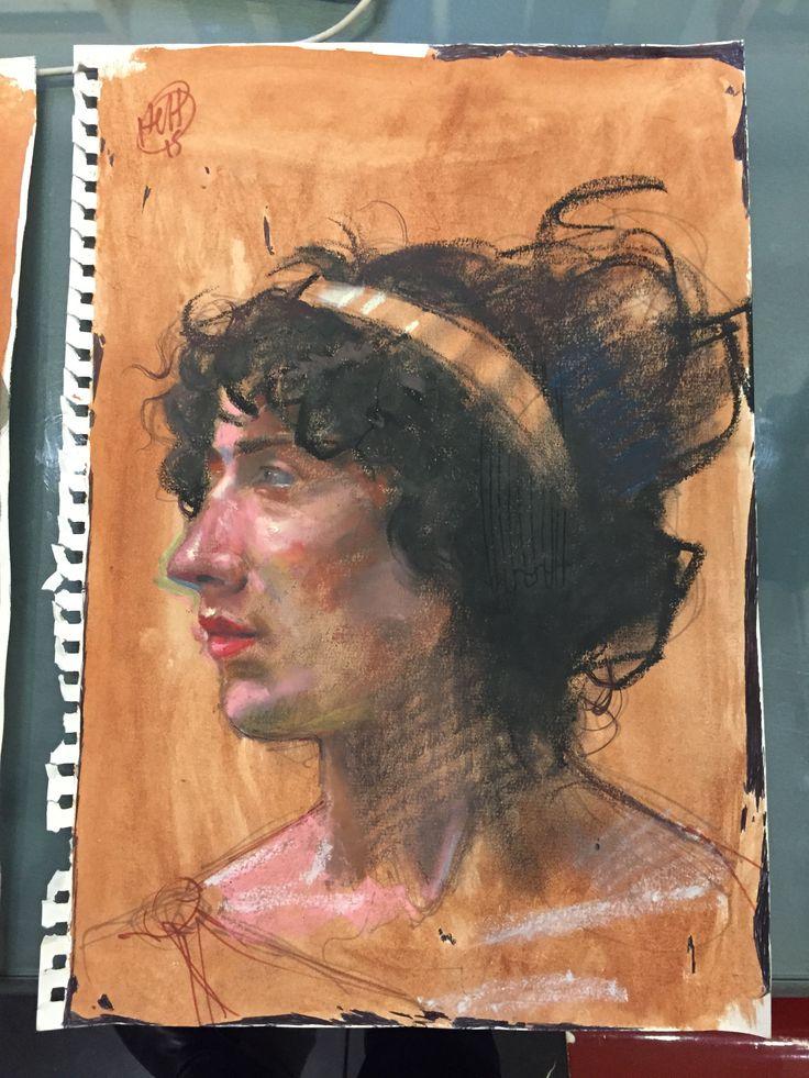 H. Craig HANNA, Femme au serre-tête, Oil Pastel, Ink and Pen on Paper, 2015