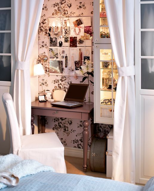Small Bedroom Office Space   Home Office Ideas – Small Working Closet Behind the Curtains