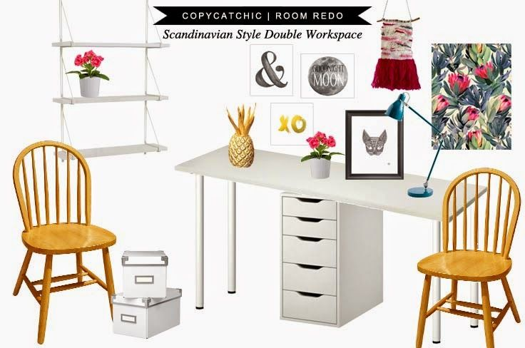 Copy Cat Chic Room Redo | Scandinavian Style Double Workspace - Copy Cat Chic