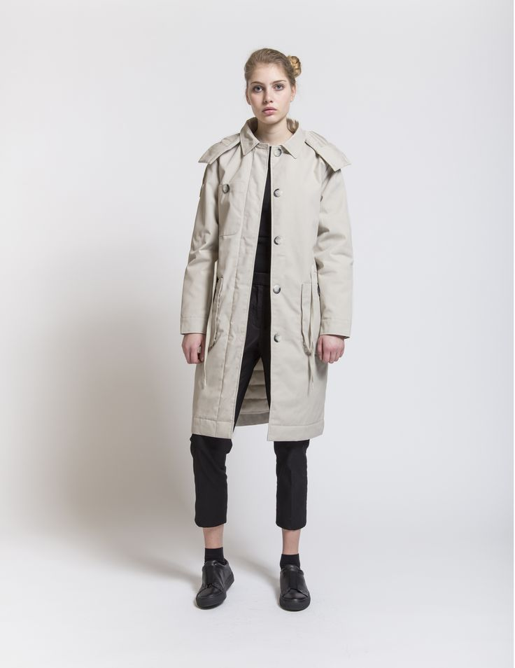 Selfhood - womensfashion outfit. Polyester/cotton jacket knee long with waist.