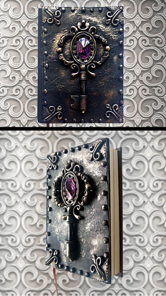 Black handmade notebook Polymer clay journal by HandMadeMagicArt