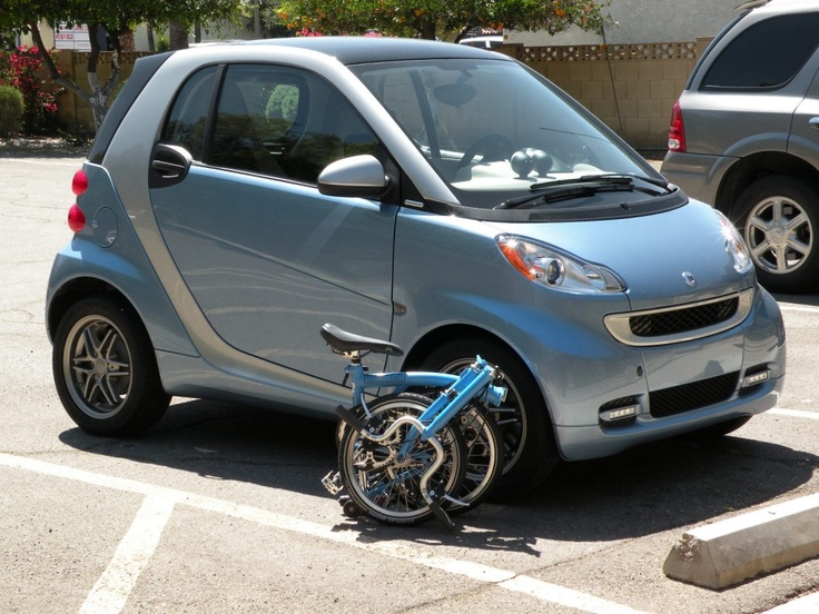 smart car and brompton bicycle
