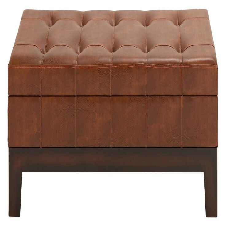 DecMode Brown Tufted Leather Storage Bench - 35041