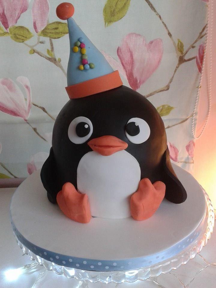 first birthday cake penguin