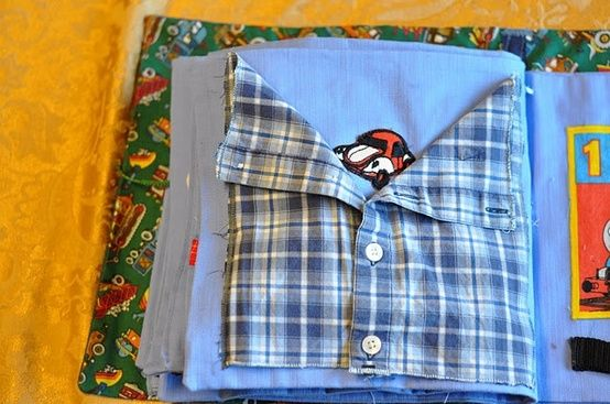 Quiet book button up shirt,,,,good for boys buttoning, find something more girlish for the baby girls