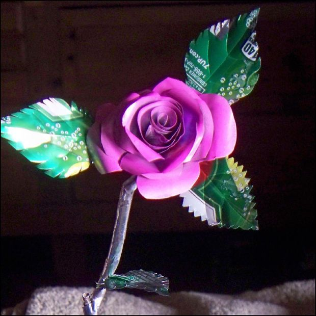 Flowers made from aluminum cans.  This should be a romantic gesture :)