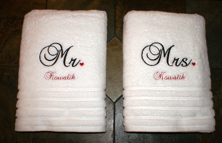 Bath towels I embroidered for wedding gift