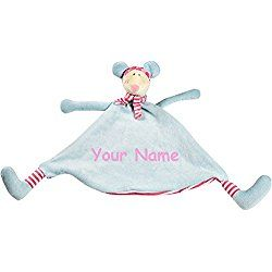 Personalized Cubbies Pastel Mouse Snuggle Buddy Baby Blanky Blanket - 12 Inches Wide