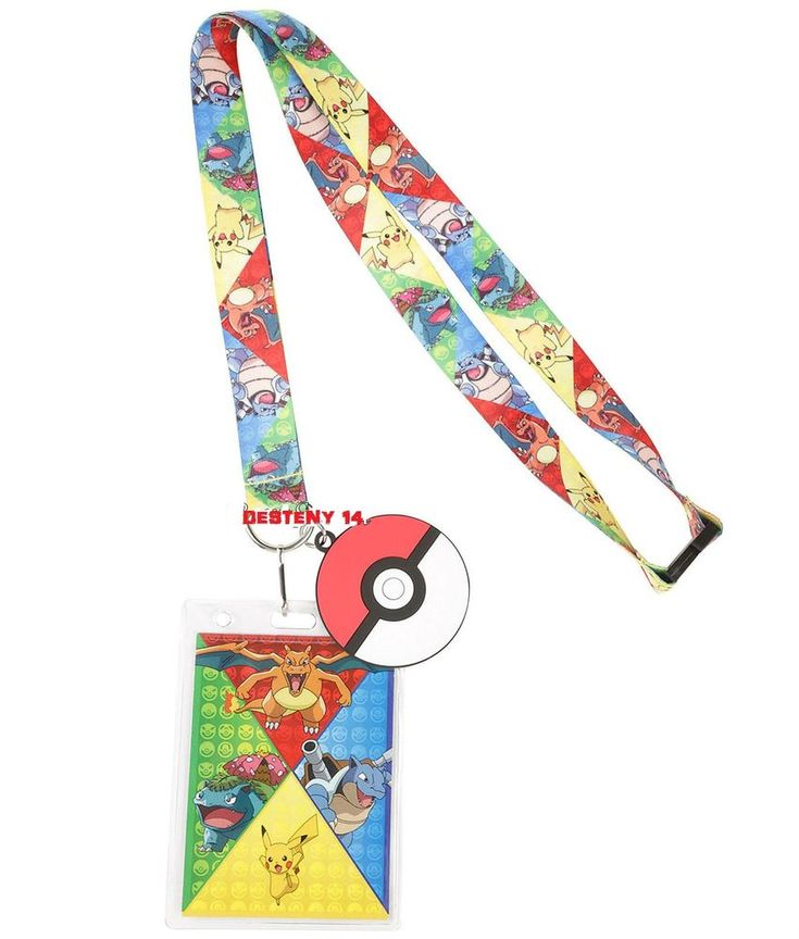 Pokemon GO Starters Character ID Park Pin Lanyard W/ Rubber Poke Ball Charm  #NINTENDO #LanyardIDHolder
