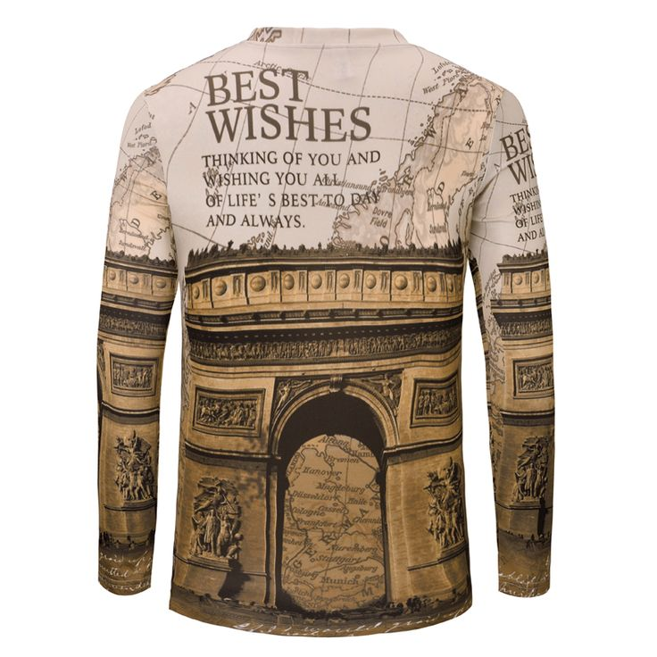 European Spring Autumn T Shirt Mens T Shirts Fashion 2015 New Mens Long Sleeve Tshirt Regular V-Neck Print Brand Clothing Tees #Affiliate