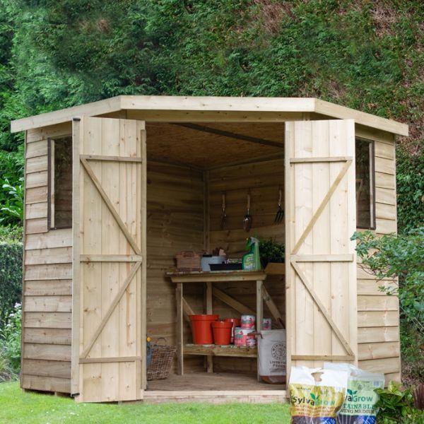 Hartwood 7 X 7 Overlap Pressure Treated Corner Shed Corner Sheds Wooden Sheds Shed