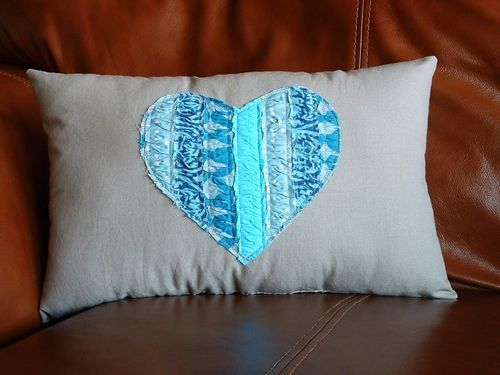 Turquoise Heart Pillow