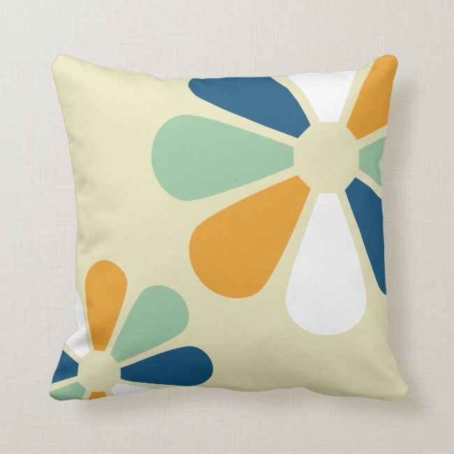Retro 60s Style Flowers Throw Pillow