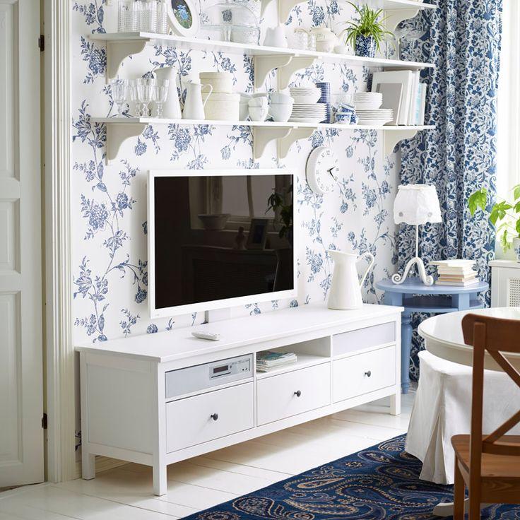 """HEMNES/UPPLEVA white stained TV bench including 46"""" LED TV"""