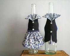 WINE bottle cover, bottle dress, gift wrapping, bleu flower summer dress. $25.00, via Etsy.