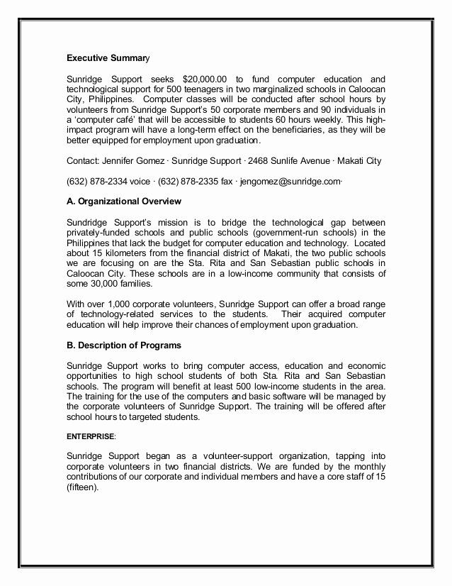 Executive Summary Sample For Proposal Awesome Grant Proposal Sample2 Executive Summary Executive Summary Template Job Resume Examples
