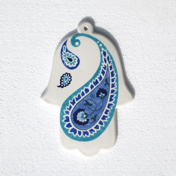 Hamsa wall hanging Hamsa with Paisley by handpaintedceramic, $35.00