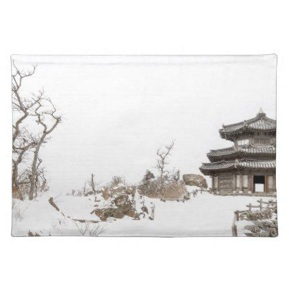 Winter asian landscape cloth placemat - winter gifts style special unique gift ideas