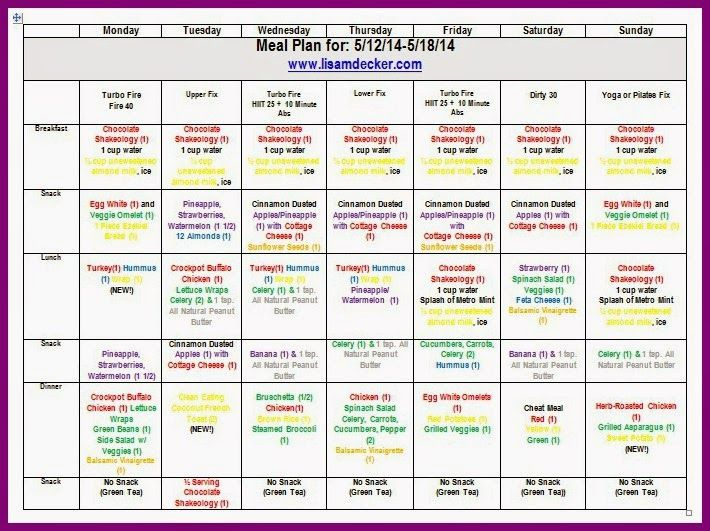 21 Day Fix / Turbo Fire Hybrid Progress Update and Meal Plan   21 day ...