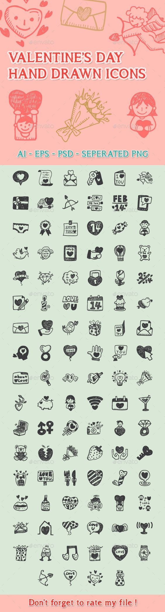 Love Hand Drawn Icons:
