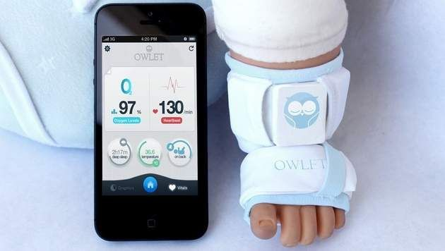 Smart Sock - keeps you informent of the health of your little one  on your smartphone heartrate - airsupply level - temperature - sleeping quality - sleeping position   all you need is a smart sock and the app (Owlet) aprox 185 euro (2015) hope they make their goal!!!!!!