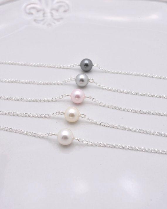 Set of 5 Bridesmaid Bracelets, 5 Pearl Bracelets, Single Pearl Bracelets, Floating Pearl Bracelet 0165 on Etsy, $38.00