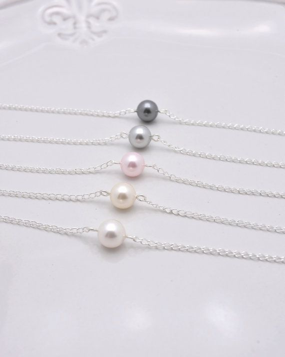 Set of 5 Bridesmaid Bracelets, 5 Pearl Bracelets, Single Pearl Bracelets, Floating Pearl Bracelet 0165 on Etsy, $38.00