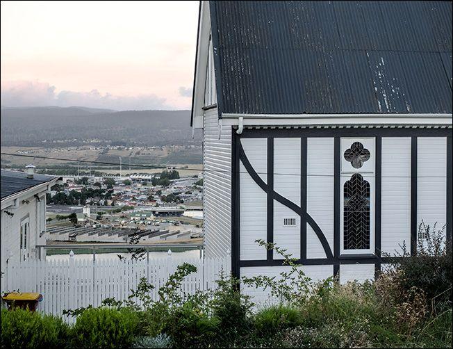 St Oswald looks out over the Port, Launceston Tasmania.