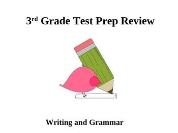 3rd grade Grammar and Writing test prep powerpoint file. Test prep questions includes: editing and revising, vivid language, spelling, and punctuation....etc....