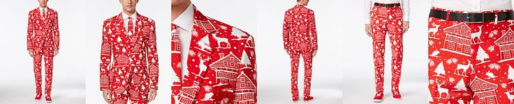 OppoSuits Men's Cozy Cabin Slim-Fit Suit and Tie, Only at Macy's