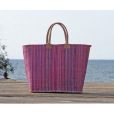 Fair Trade Basket Handwoven raffia, leather handles. La Maison Afrique #FAIRTRADE