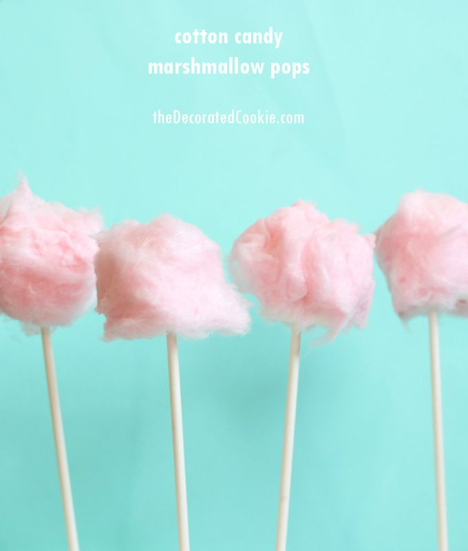 EASY cotton candy marshmallow pops ~ The Decorated Cookie