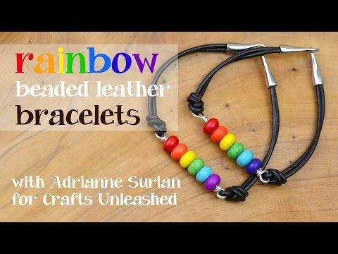DIY Leather Bracelet: Rainbow Beads - Crafts Unleashed