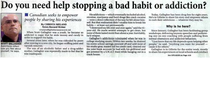 """Article on Scott Gallagher """"Do you need help stopping a bad habit or addiction?"""""""