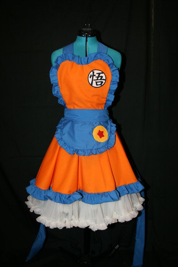 I have to have this!! It will go great with my dragonball tattoo!! Dragonball Z Goku Half Apron Pinafore with by darlingarmy on Etsy, $65.00