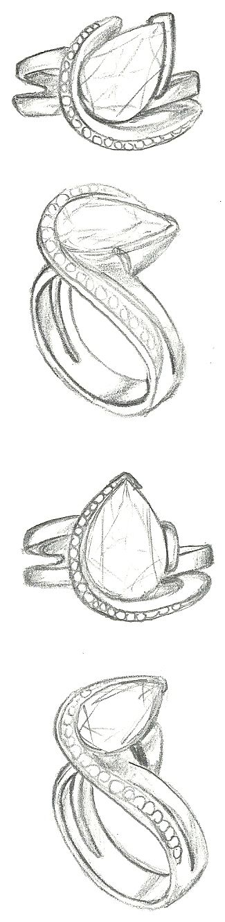 Mark Schneider Design – sketch of Vision engagement ring with a pear cut diamond…