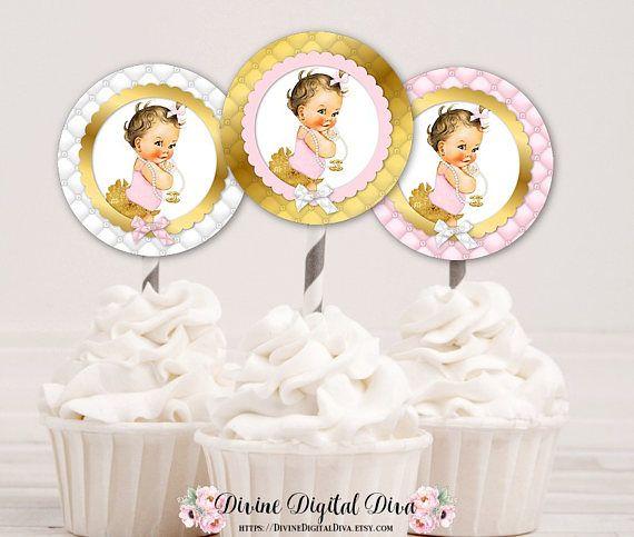 Cupcake Topper cirkels  Roze goud wit bogen  Lichte huid